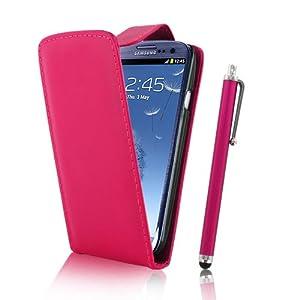 Kolay® Samsung Galaxy S3 SIII Hot Pink Leather Flip Case + Screen Protector & Stylus Pen