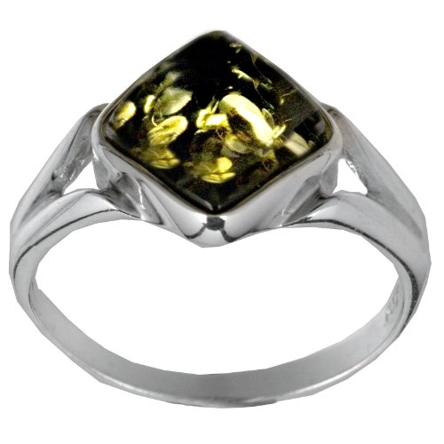 Sterling Silver Green Amber Small Square Ring, Size 7