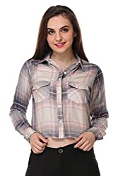 PURYS white & Pink Check Crop Shirt - X-Large