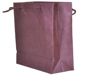 Valentine's day gift. Recycled Indian handmade paper Bags with fine metallic spray & embossing in deep purple color. Beautiful Gift