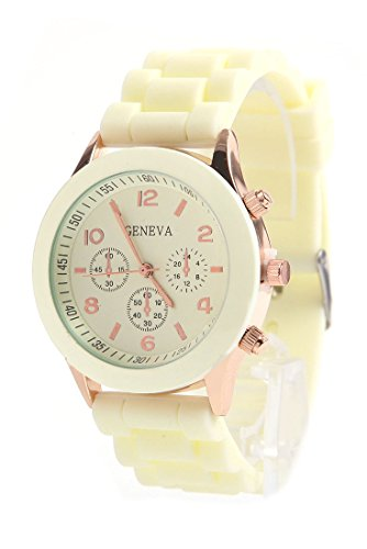 Daisy*Vzu Brand New Unisex Silicone Jelly Golden Quartz Wrist Watch Beige