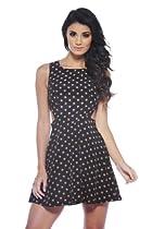 AX Paris Polka Dot Cut Out Side Skater Black Dress