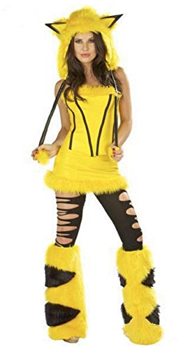 [Cohaco Women's Cosplay Costume Yellow Animal Mini Skirted Halloween Party Clothing] (Pikachu Costumes Women)
