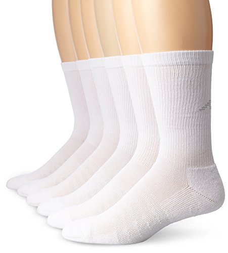 New Balance Crew Core 6 Pair Folder Socks, X-Large, White