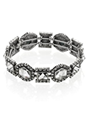 M&S Collection Hexagon & Square Diamanté Stretch Bracelet