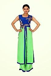 Raagbydeepa Cool Green Blue Sleeveles handwwork long kurti palazzo set