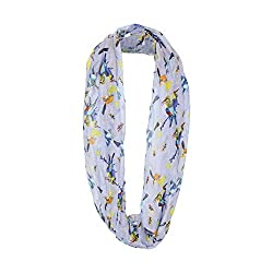Lavender Infinity Scarf with Birds Print for Women