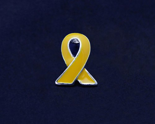 Gold Ribbon Pin - Silver Trim Tac (50 Pins)