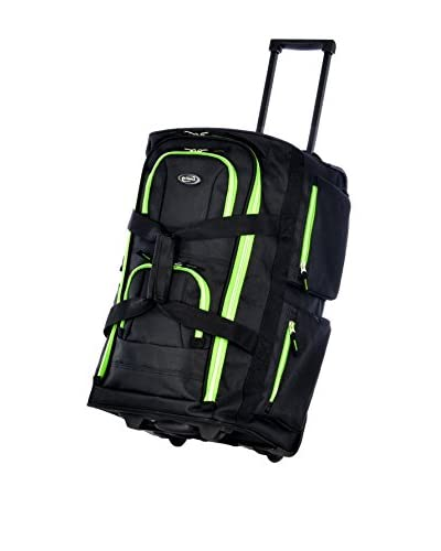 Olympia 22 Inch 8 Pocket Rolling Duffel, Black/Lime