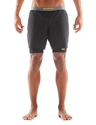 Skins-Super Pose Half Tights dnamic, Uomo, Shorts DNAmic Superpose Half Tights, Black/Citron, M