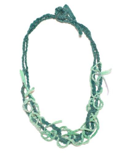 JousJous Green Handmade Felt Teal Maze Necklace, 23
