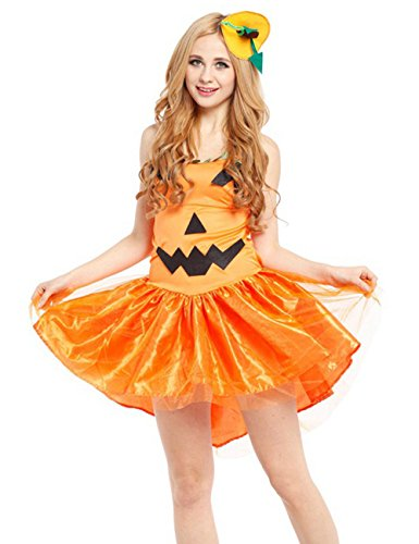 E-COM Womens Halloween Costumes Pumpkin Cosplay Adult Outfit Fancy Princess Dress