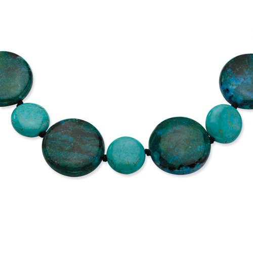 Sterling Silver Dyed Howlite/Stabilized Chrysocolla Necklace