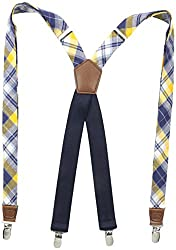 Dockers Mens Dockers 1 Inch Plaid Suspenders, Navy/Yellow, One Size