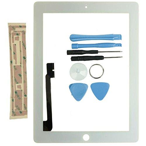 FAVOLCANO Frontscheibe+Touchscreen Digitizer Ersatz Vorderer Glasdisplay für iPad 3 4 4th A1460 A1459 A1458 mit Werkzeug Reparatur Set Weiß