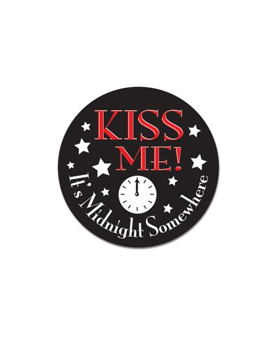 Kiss Me It's Midnight Somewhere Button Party Accessory (1 count) (1/Pkg)