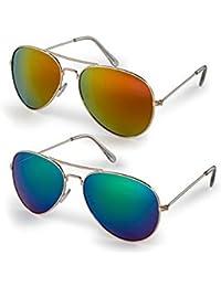 Sheomy Mirrored Sunglasses Mercury Green Classic Aviator,Mercury Blue Aviator Combo Pack Sunglasses (For Boys)...