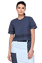 KAARYAH - Women Blue Half Sleeves Relaxed Fit Top