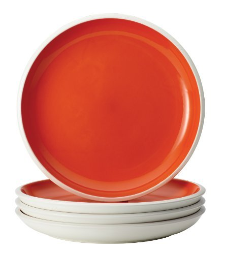 Rachael Ray Dinnerware Rise Collection 4-Piece Stoneware Dinner Plate Set, Orange by Rachael Ray