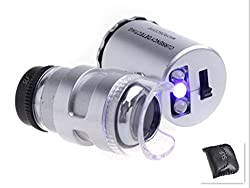 Smart Life 60x Pocket Magnifier Microscope Loupe Led Uv Currency Detector