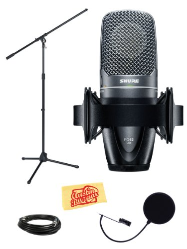 Shure Pg42-Usb Vocal Microphone Bundle With Boom Stand, Mic Case, Pop Filter, Shockmount, Xlr Cable, And Polishing Cloth