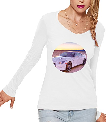 Ford Mustang Sports Car Women's CLAIRE Long Sleeve T-Shirt Bianco Large