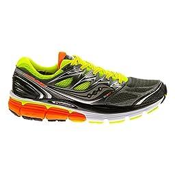 Saucony Men\'s Hurricane ISO Wide Running Shoe, Grey/Citron/Orange,10 W US