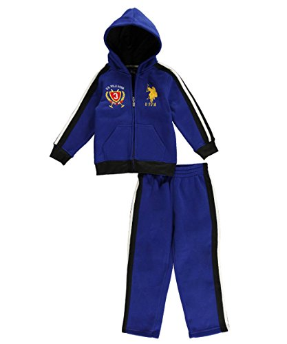 U.S. Polo Assn. Little Boys' Classic Full Zip Hoodie And Track Pant, Cobalt Blue, 2T