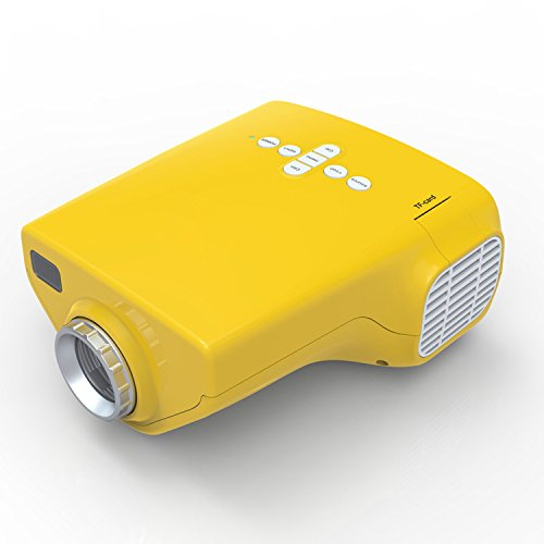 Icanany® Mini Multimedia Hd Lcd Image System Ome Led Digital Projector Cinema Theather,Pl Laptop Vga Input Usb Uc28(Sd/Usb/Av/Vga/Hdmi Port) (Yellow)