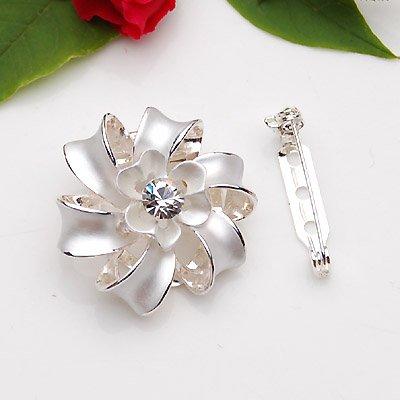 Beautiful Lady Pin,Brooch,Scarf Ring -Clip On Style. Silver Metallic w/ Rhinestone.Lotus Design 1