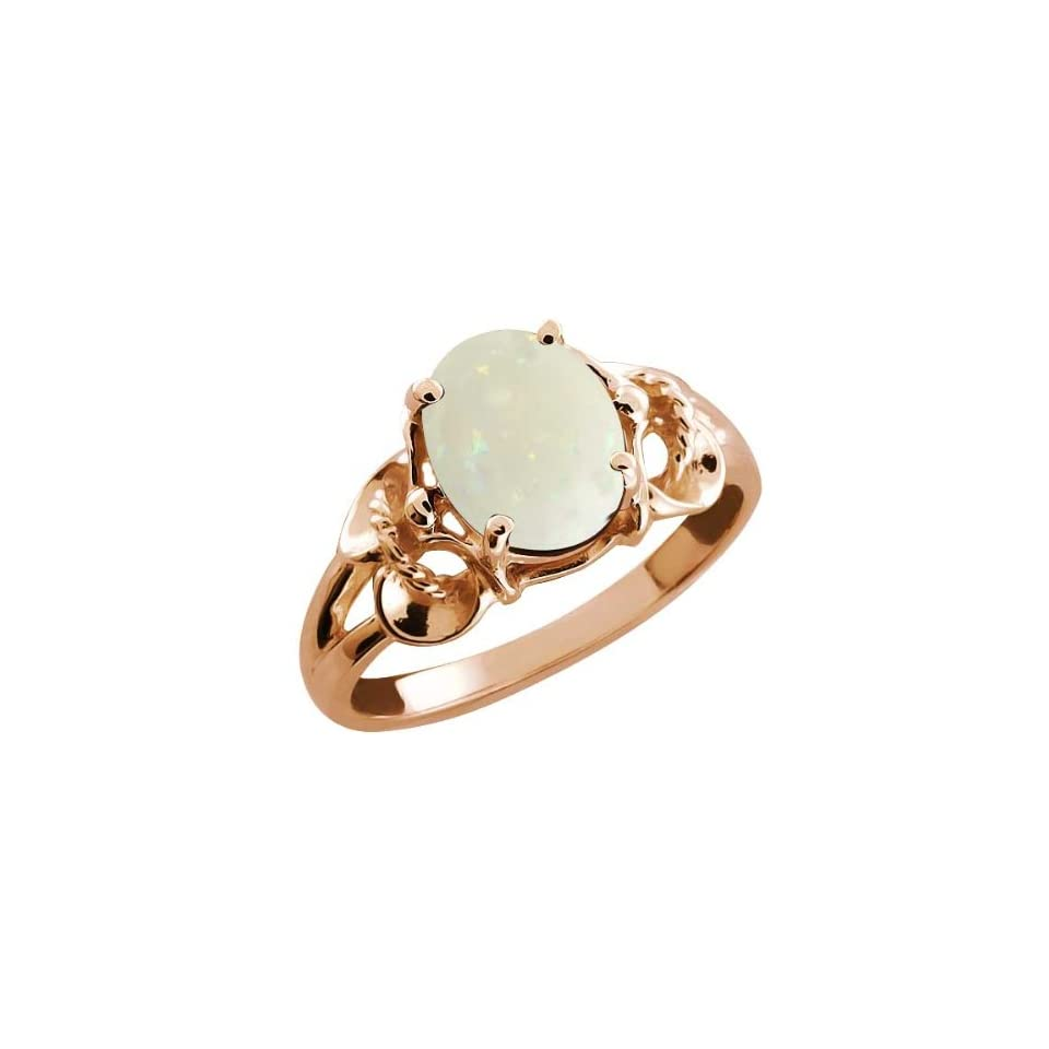 Opal White Oval Mystic Quartz Rose Gold Plated Argentium Silver Ring
