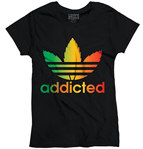 Addicted-Funny-Parody-T-Shirt-Rasta-Pot-Leaf-Weed-Smoking-420-Ladies-T-Shirt