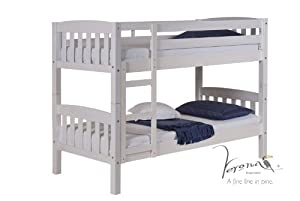 """2FT 6 """" SHORT WHITEWASH AMERICA BUNK BEDS 2 SINGLE BEDS FROM CENTURION PINE"""