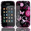 BLACK PINK SAMSUNG GALAXY S GT-I9000 BUTTERFLY FLOWER / FLORAL HYDRO SOFT SOLID TPU SILICONE PRINT GEL SKINS CASE COVER WITH FREE ULTRA CLEAR LCD SCREEN PROTECTOR - BY WHOLESALEUK PHONE CASE COVERS AND ACCESSORIES