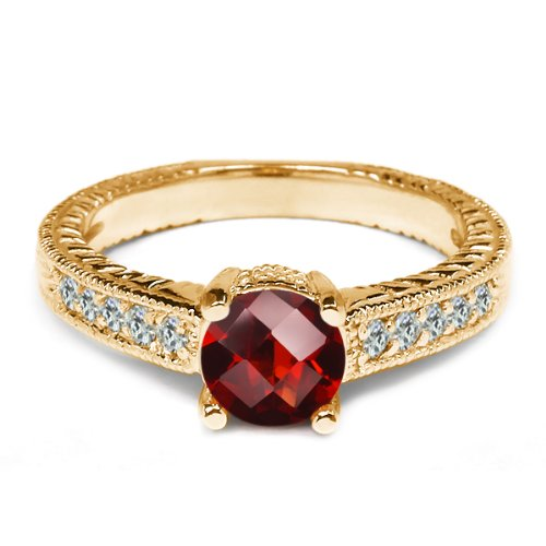 0.37 Ct Round Checkerboard Red Garnet 925 Yellow Gold Plated Silver Ring