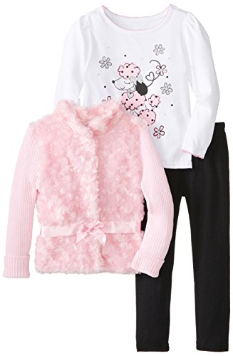 Young Hearts Little Girls' 3 Piece Poodle Fur Jacket Set