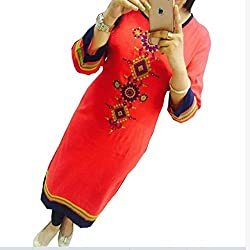 Kesu Fahion Women's Embroidered semi-stitched Selfie Kurti In Georgette Fabric (KUKRT1006_Free Size_Light Red)