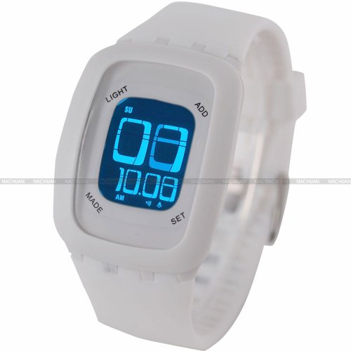 AMPM24 LCD Touch Screen Alarm Date Day Backlight Lady Mens White Sport Silicone Watch