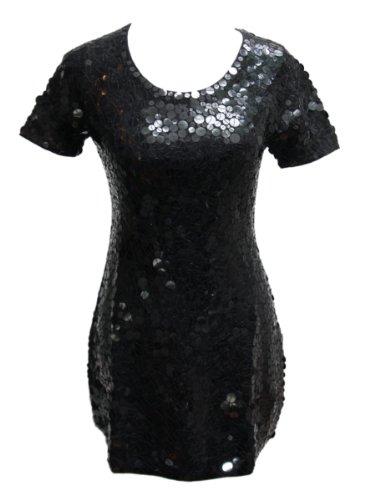 Black Sparkle Sequin Crewneck Tunic Sweater Dress