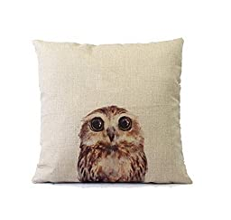 Little Owl Cotton Linen Art Decorative Pillow covers 18*18