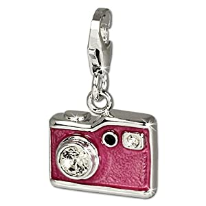 SilberDream Charm pink enameled camera with white Zirconia, 925 Sterling Silver Charms Pendant with Lobster Clasp for Charms Bracelet, Necklace or Earring FC660