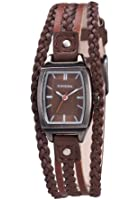 Kahuna Women's Quartz Watch with Brown Dial Analogue Display and Brown Leather Strap KLS-0193L
