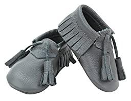 Unique Baby Quality Leather Baby Moccasin with Hanging Tassel (18-24 month (5.4 inches), Gray)