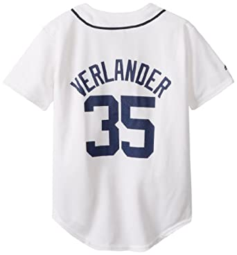 MLB Detroit Tigers Justin Verlander White Home Replica Youth Jersey, White by Majestic