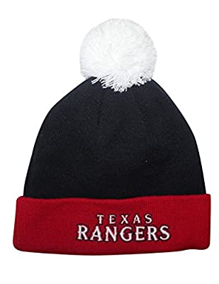 MLB TEXAS RANGERS Unisex Adult Roll Up Beanie with Removable Pom Pom