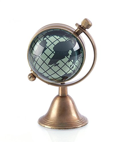 Antique Retro Vintage-Inspired Brass Metal Craft World Globe Table Clock Home Decor - 1.8 Inch 3