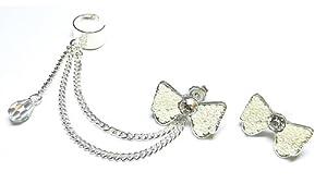 White Bow Swarovski Chain Ear Cuff Handmade