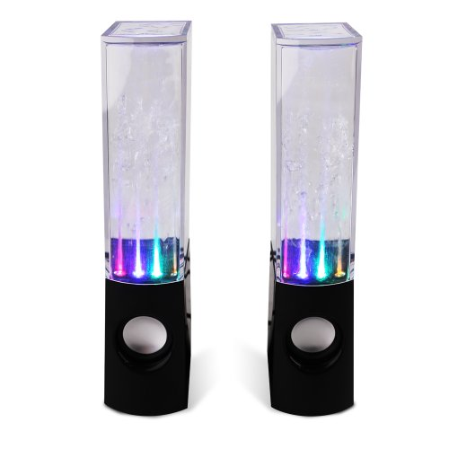 New 2 X Dancing Water Show Stereo Music Fountain Usb Powered Colorful Led Light Speakers For Mp3 Player, Mobile Phones, Smartphone, Computer, Ipod, Iphone, Ipad, Pc, Laptop, Netbook, Tablet, 3.5Mm Audio - Black