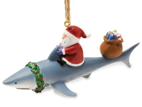 Santa Riding Shark Ornament