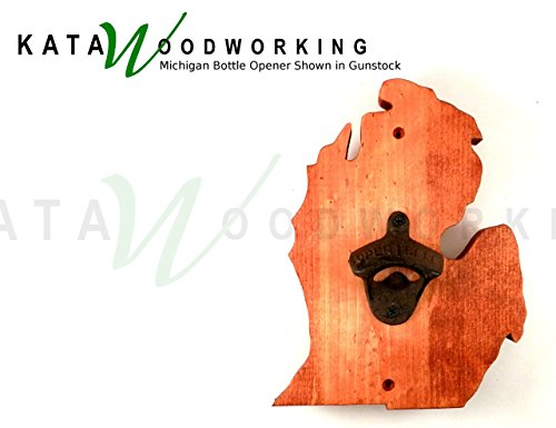 Michigan Lower Peninsula Shaped Wood Cut-out Bottle Opener - Wall Mount - Handmade (Yooper Bars compare prices)